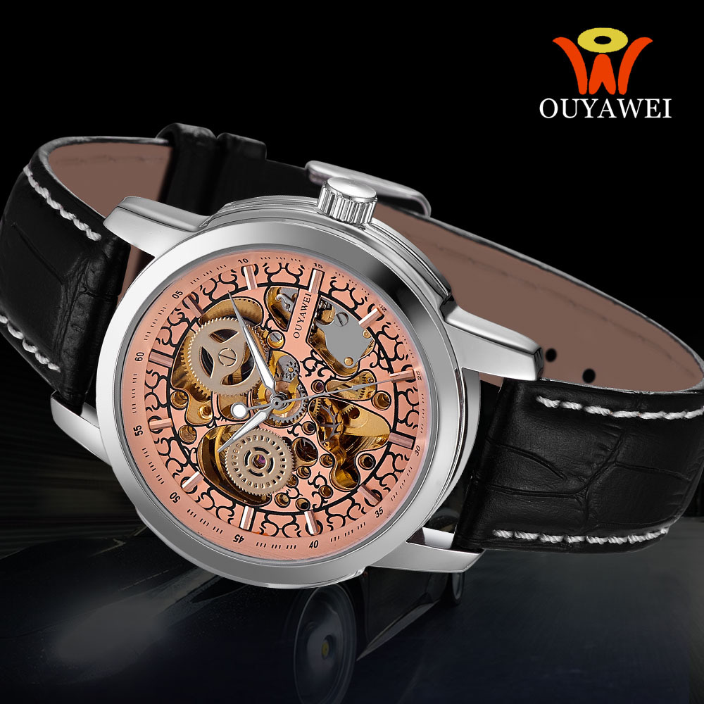 OUYAWEI Brand Men Military Watch Special Color&Fashion Luxury Design Mechanical Hand Wind &Black Leather Strap With Self Wind(China (Mainland))