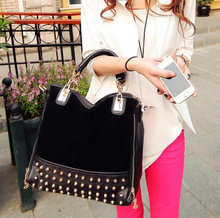 New woman bags 2015 bag handbag fashion handbags Women Stitching Flannel Rivet Studded Shoulder Messenger Bag