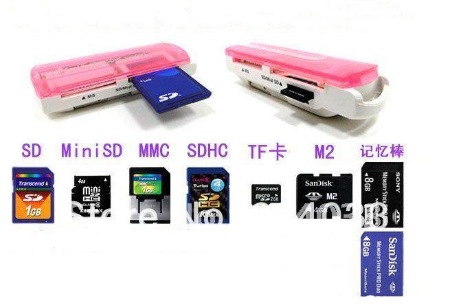 T 5pcs USB 2.0 all in 1 Memory Stick Multi Card Reader RS-MMC MS SD TF MMC SDHC MiniSD XD Card for Win XP 7 8 Vista Mac OS(China (Mainland))