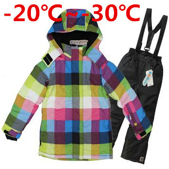 Фотография Children Winter Clothing Set Teenage Girls Ski Suit Windproof Outdoor Girls Ski Jackets+Bib Pants 2pcs