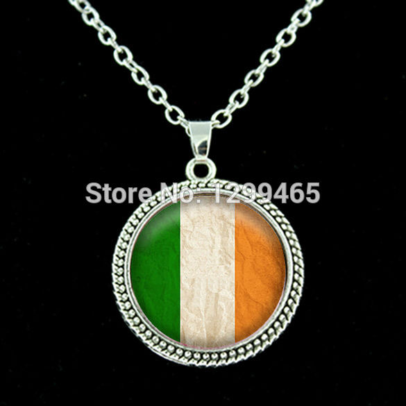 Handcrafted Fine Jewelry,Irish Flag lass Dome Pendant , Vintage Choker Ireland Bijuterias on Aliexpress chain necklace N 032(China (Mainland))