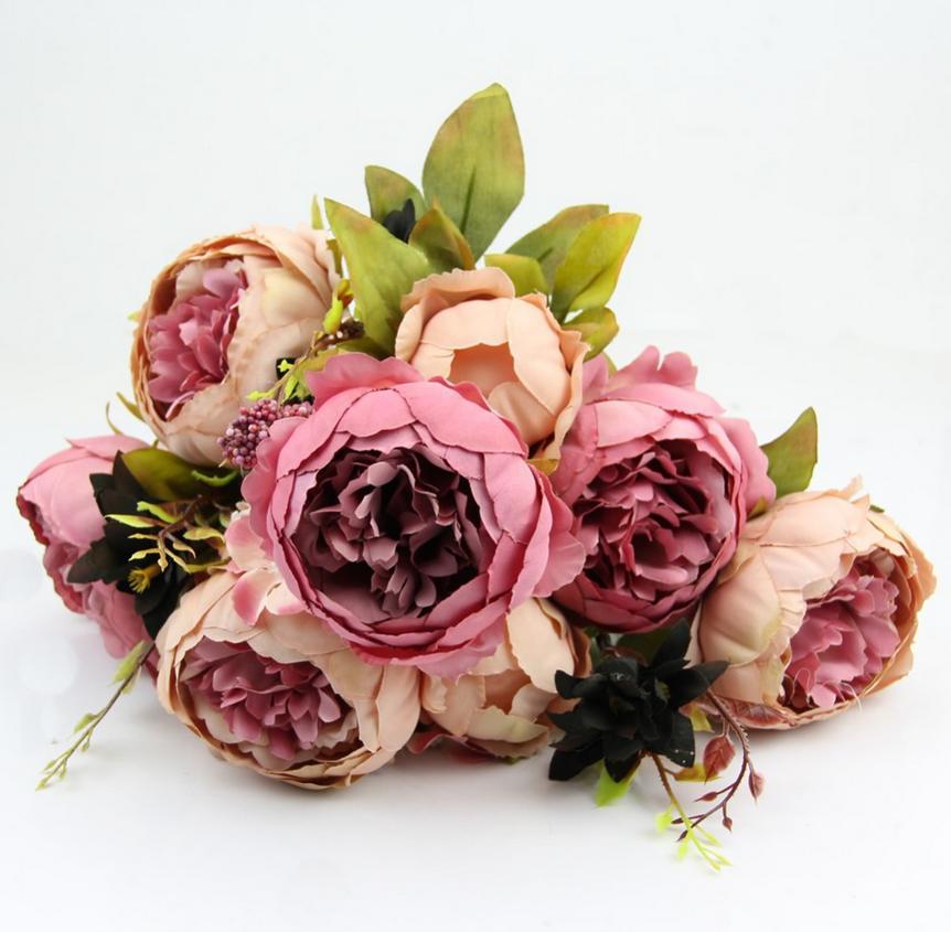 Wholesale 2 Pc Lot Hight Quality Silk Flower 1 Bouquet