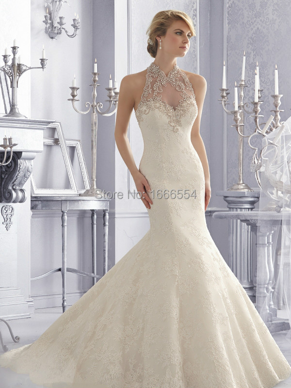 Wedding Dresses   Us : New elegant lace mermaid custom make wedding dress with