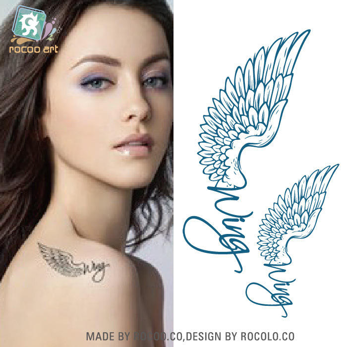 New design gold angel wings tattoo fashion temporary tattoos temporary waterproof body art tattoo