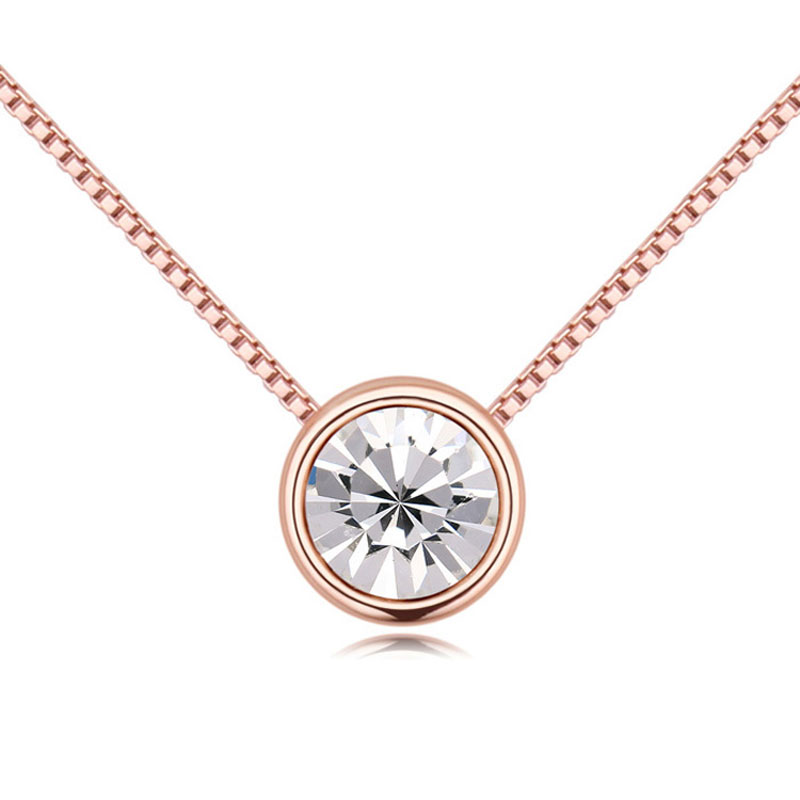 2016 New Fashion Drop Pendant Necklaces For Women Original Crystals From Swarovski Rose gold plated Chain Collares Jewelry(China (Mainland))