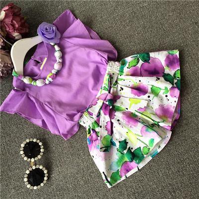 Девушки летней одежды комплект с колье блузка + цветочные брюки девочка одежды комплект ...