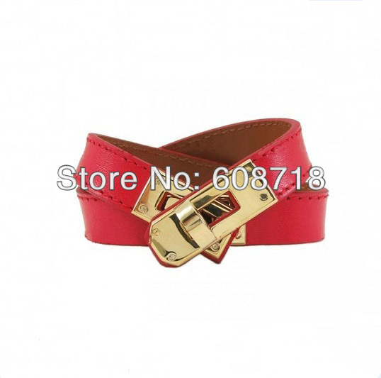 2014 Spring Designer Fresh Red Leather Cuff Bracelet,Shiny Red Color Leather with Gold Hardware,Women Favorite Christmas Gift(China (Mainland))