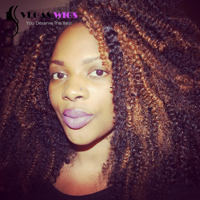Afro Kinky curl  Heat Resistant Synthetic Lace Front Wigs <br><br>Aliexpress