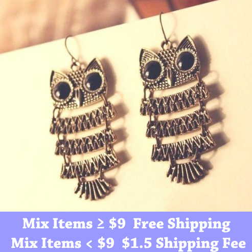 Min.order is $15 (mix order) Fashion  2 colors vintage Owl earrings Discount earrings Discount jewelry !Free shipping!<br><br>Aliexpress