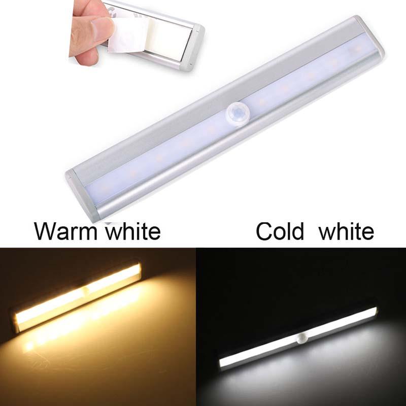 10 LED Wireless Motion Sensor Light AAA Battery Operated Stick-On Closet Cabinet Pathway Night Light Infrared Induction Lamp(China (Mainland))