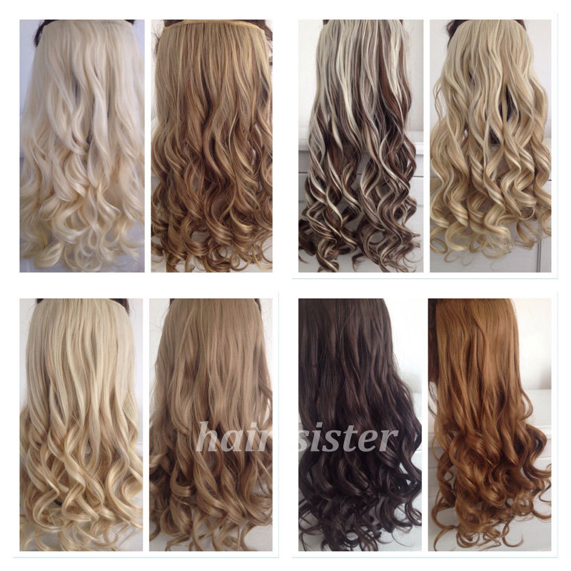 "SUPER SALE! Long Curly/Wavy Clip in Hair Extensions Half Full Head Black Brown Blonde Auburn Red 17"" 43CM(China (Mainland))"