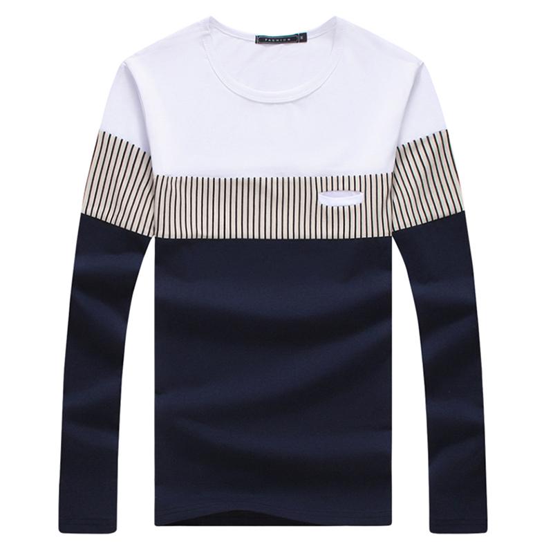 New Arrive Mens T Shirt Fashion 2016 O Neck Slim Fit Long