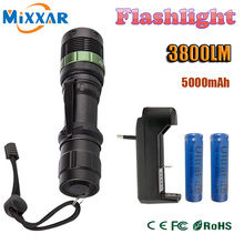 zk20 3800 Lumen Zoomable XM-L Q5 LED Flashlight Torch Zoom Lamp Light Black led torch high light with 2 x battery+charger(China (Mainland))