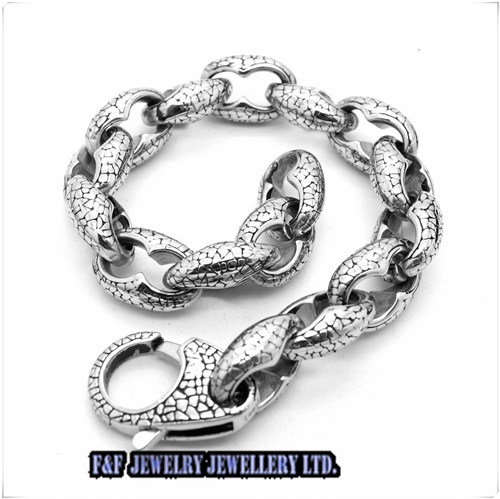 Silber Dragon scale Chain 316L Stainless Steel Mens Bracelet Silver Tone mens bracelet , B#60 - FUNFUN store