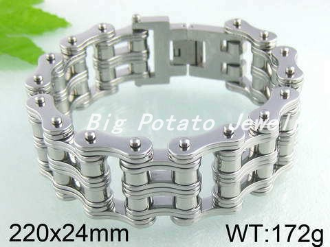 Free Shipping Silver Stainless Steel Huge & Heavy Two Layer Bike Chain Men's & Boy Bracelet Bangle,Fashion Bijoux Brand Jewelry(China (Mainland))
