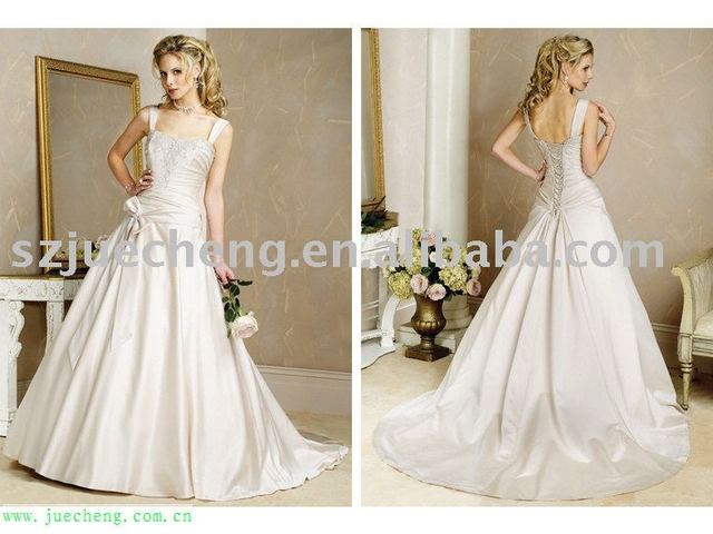 embroidered lace-up back butterfly tie stain bridal wedding dress hs-5075