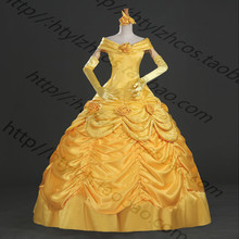 Custom Cheap Belle Princess dress Cosplay Costume with glove from beauty and the beast party