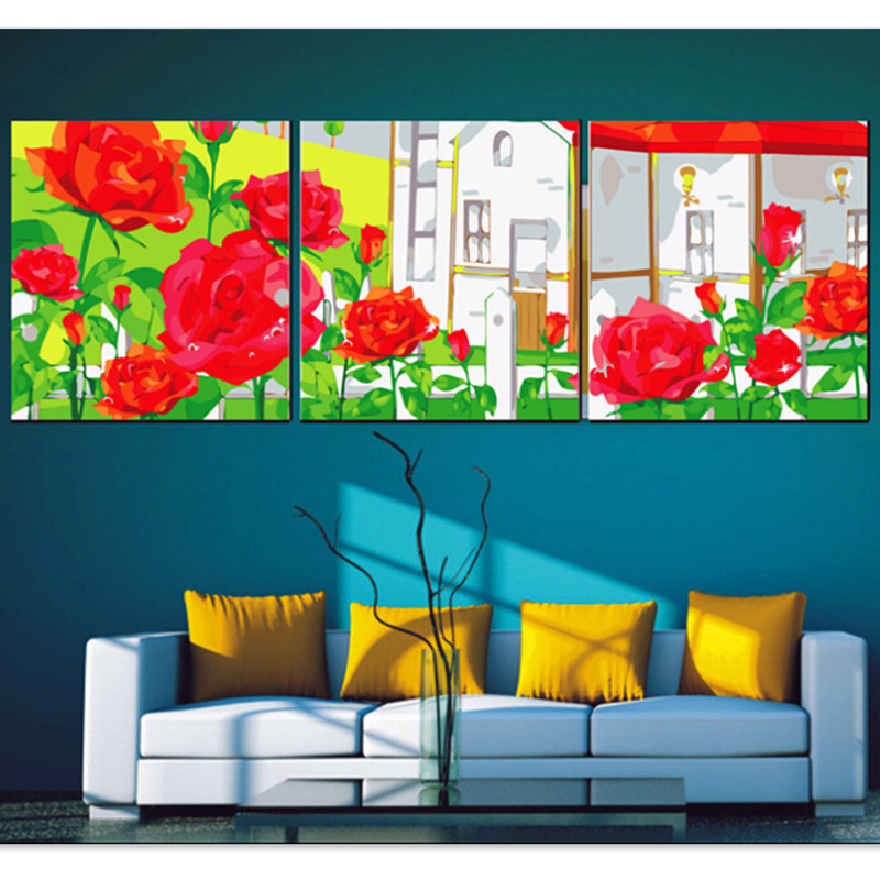 Rose Garden Frameless Pictures Painting Numbers DIY Digital Oil Canvas Home Decoration Wall HD0472 - (mix order$15 storeSunshine Store)