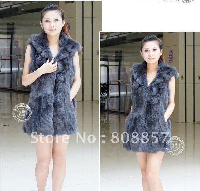 New arrival Guarranteed 100% genuine rabbit fur long vest WZGG-468_15 Free shipping
