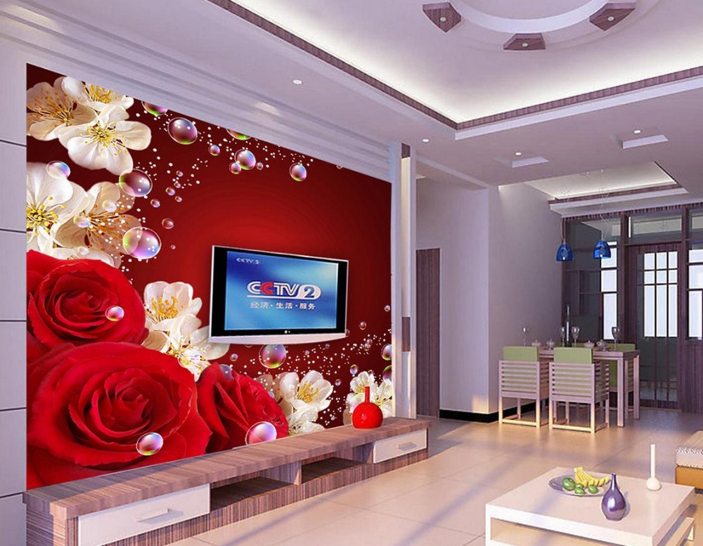 Buy custom 3d wallpaper murals red rose for 3d wallpaper home decoration