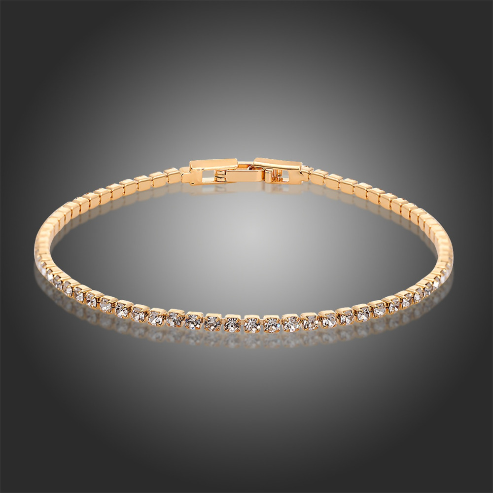 18K Yellow Gold Plated Cluster Rhinestones Crystals Slim Tiny Tennis Link Chain Bracelets Fashion Jewelry for Women Girls(China (Mainland))