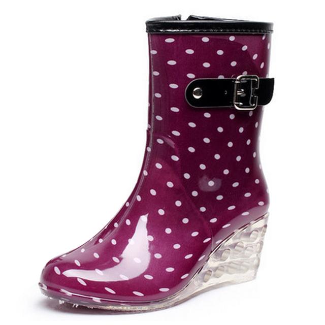 ODEMA 9 Стилей Клинья Дождь Сапоги Женщин 2016 Точка Резиновая Круглым Носком Пряжка Среднего Теленок Туфли На Платформе Ботинки Женщин