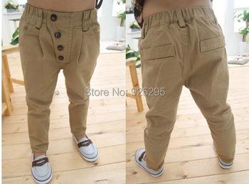 Дети детская одежда ребенка мальчики ретро хаки свободного покроя брюки прямые брюки 2-7YFree и прямая поставка