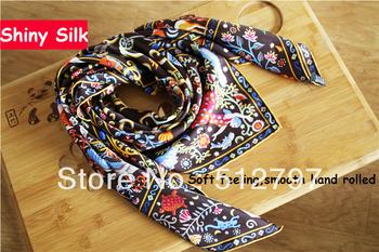 Free Shipping silk twill square scarf  90cm Hand hemming,14mm 50g 100% Pure Silk