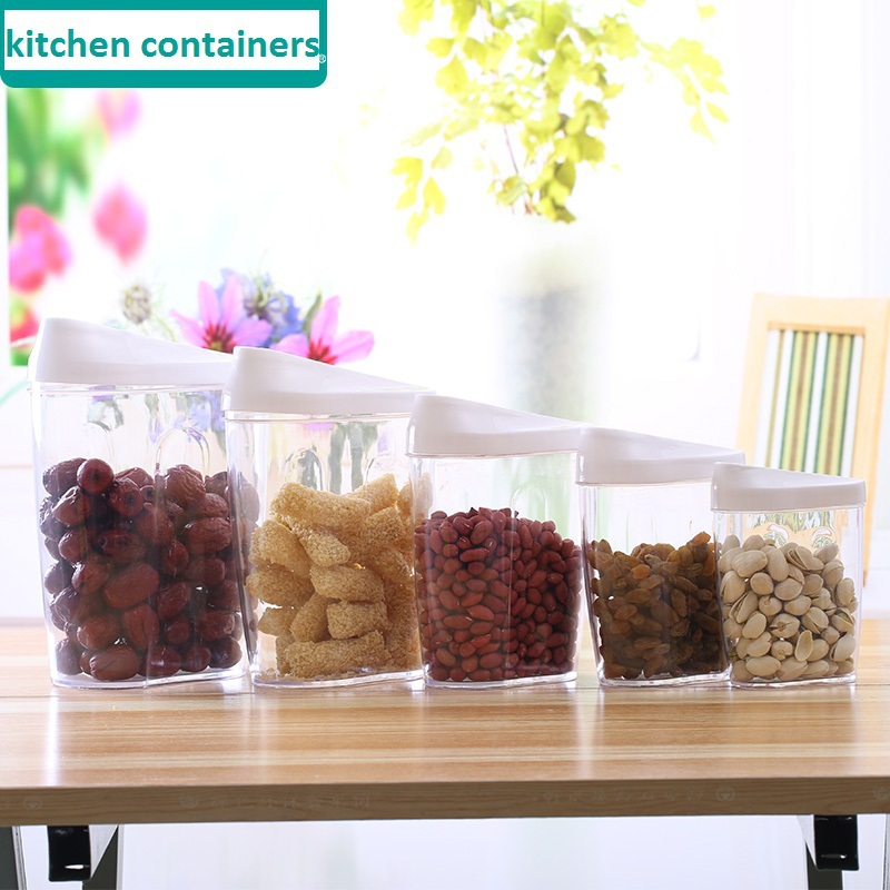 5 Pc/ Set kitchen plastic storage canisters kitchen canisters sets for food for dried fruit kitchen food canisters 1.5L 1L 0.7L(China (Mainland))