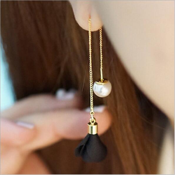 Luxury Cute Simple Long Pearl Tassel Ear Line Stud Earring For Women Girl Korean Earing Fashion Jewelry hanging Earrings Brincos(China (Mainland))