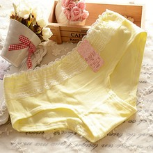 Hot Women Soft Cotton Briefs Solid Color Lace Underwear Panties Knicker Underpants(China (Mainland))