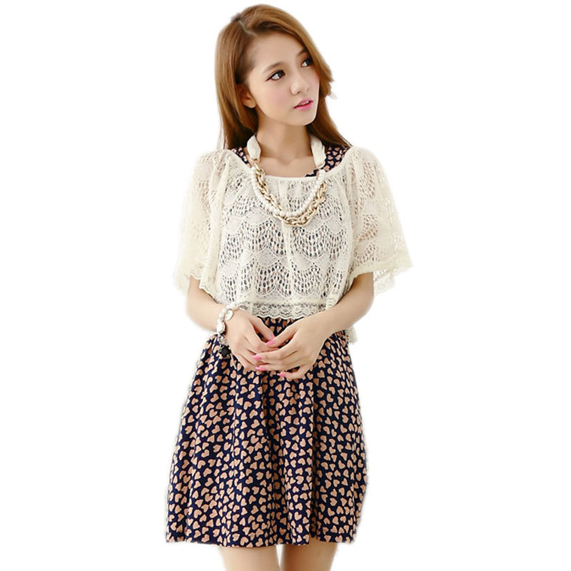 2015 New Fashion Summer Dress Two-piece Set Cute Sweet Love Print Short Sleeve O-neck Casual Dresses Women Lace - Just Buy Me store