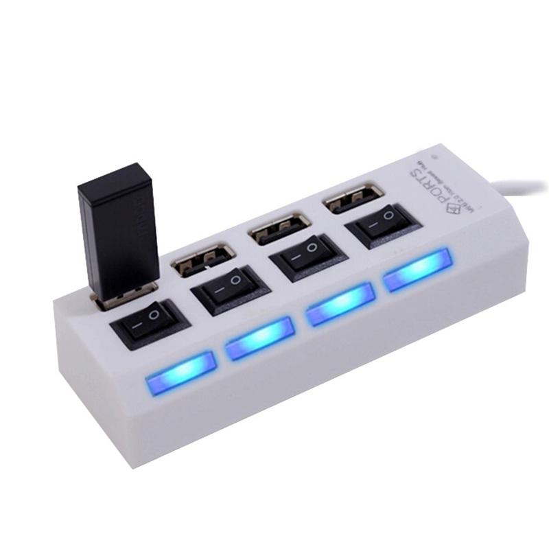 Mini High Speed USB 2.0 Hub 4 Ports Portable USB Hub 480 Mbps On/Off Switch Hub USB Splitter Adapter For PC Laptop(China (Mainland))