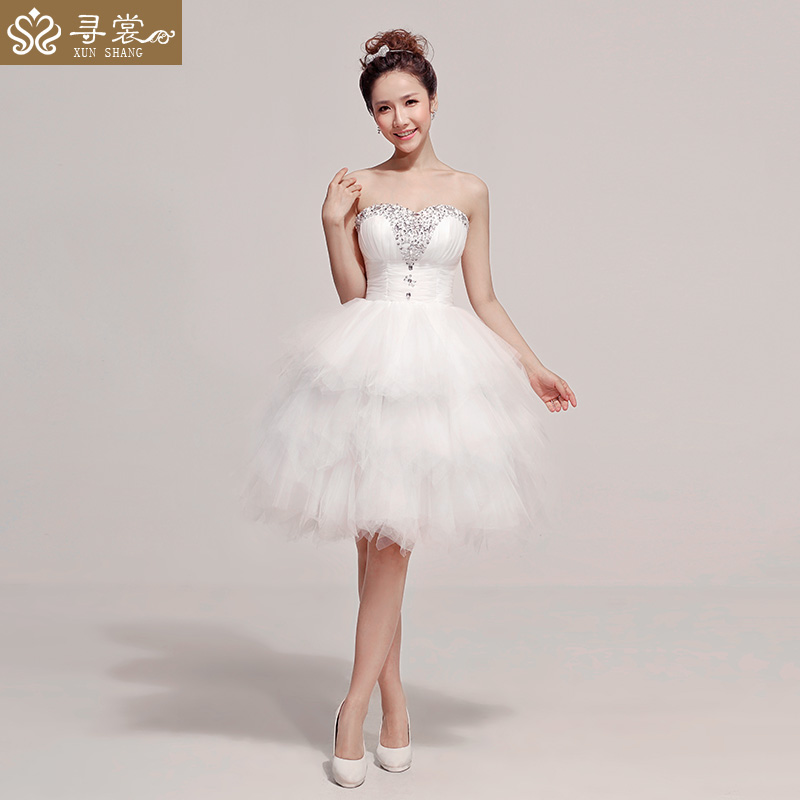 2014 Fashion Pure Ehite Short Design Diamond Decorated