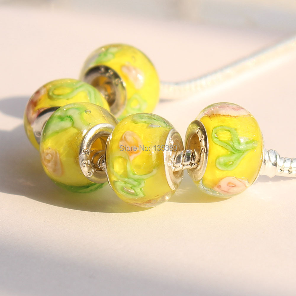DIY Jewelry accessories big hole beads yellow coloured glaze apply to fit Pandora style charms bracelet -13(China (Mainland))