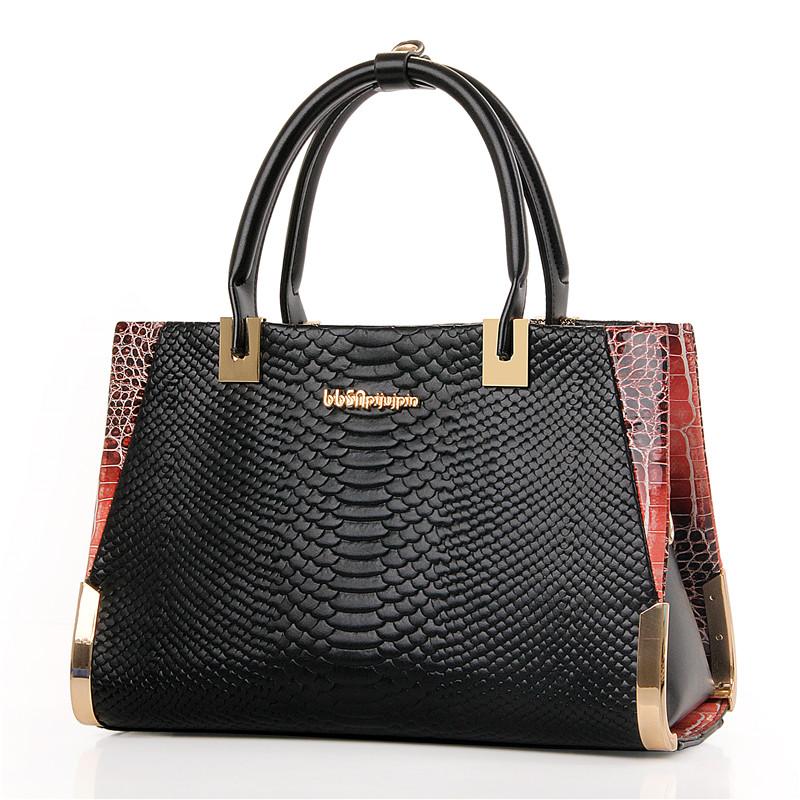 2016 New Fashion Women's Shoulder Bag High Quality Designer Embossed Handbag Serpentine Pattern Leather Tote Bag Ladies Handbags