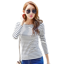 Buy New Fashion 2017 Spring Summer Cotton Striped Women Long Sleeve T Shirt Casual O-neck 9 Colors Plus Size S-5xl Female Tee Tops for $9.48 in AliExpress store