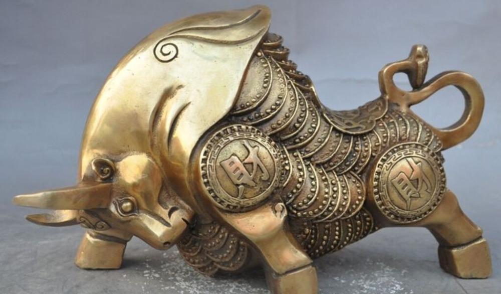 "ZSR 529 ++++++ 11"" china brass fengshui wealth Stock Market Wall Street Oxen Bull market statue(China (Mainland))"