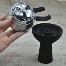 1pc Three Valves  Silicon Hookah Shisha Bowl  + 1pc Charcoal Holder Head Charcoal Stove Burner  Keeper(China (Mainland))
