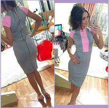 2016 Sexy Summer Dress Women Pink Gray Color Block Tight Fitted Dresses Ladies Sexy Bandage Zipper Back Dress Vestidos J3271(China (Mainland))