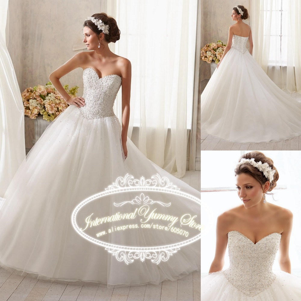 Vestidos 2015 Strapless Wedding Dress Vestido de Noiva Bridal Gown with Pearl Like Beads and Sequins Lace up Back(China (Mainland))