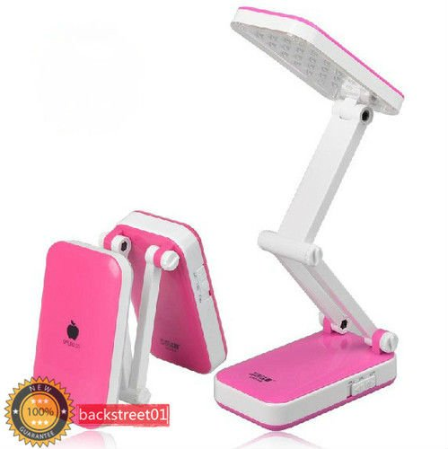 Fashion 24 LED Foldable Rechargeable Table Reading Light Desk Lamp Pink Free Shipping(China (Mainland))