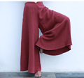 Women Summer Style Wide Leg Pants Harem Loose High Waist Ankle Length Cotton Linen Casual Trouses