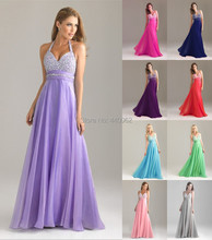 Free Shipping Wholesale Price Lavender Halter Sequined Chiffon Long Wedding Party Dress Bridesmaid Dresses 2015(China (Mainland))