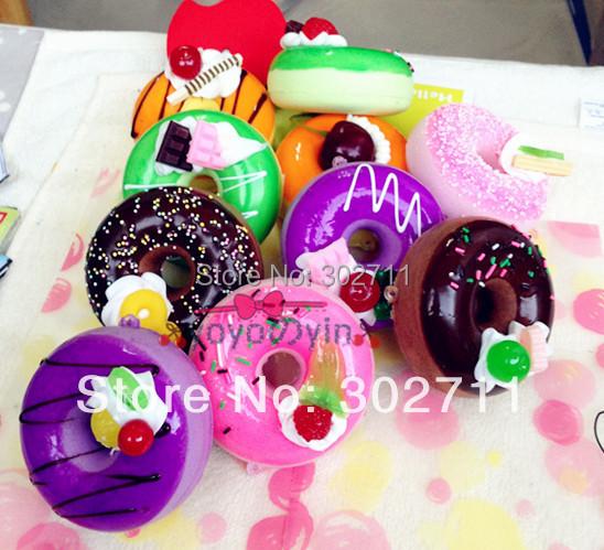 20pcs/Lot ,6.5cm New Fruit Donut Squishy Phone Charm(China (Mainland))