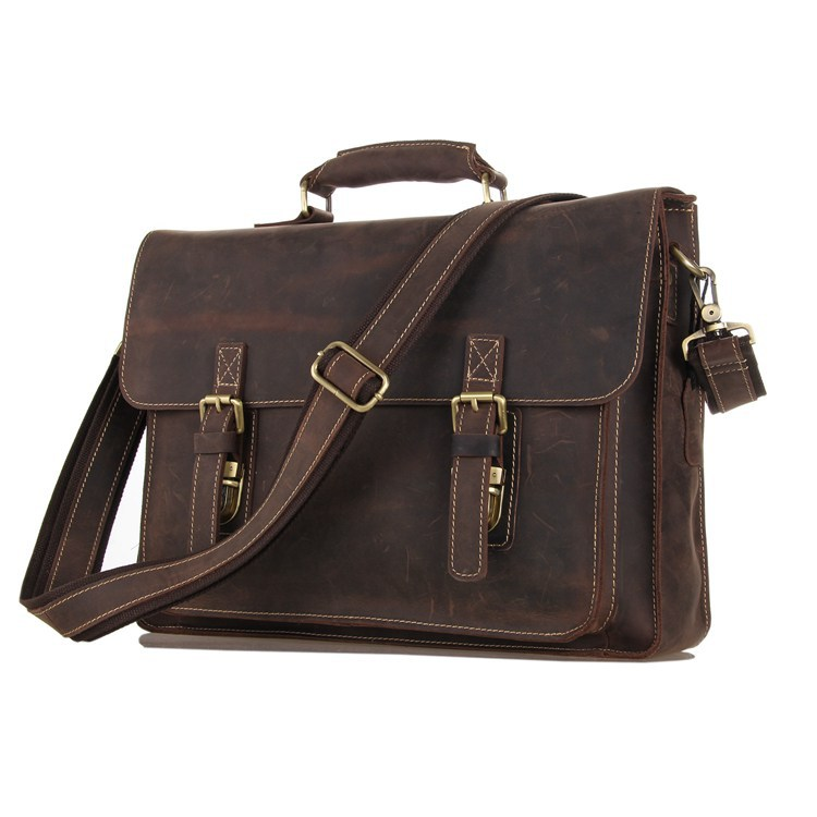 Crazy horse genuine leather men bag vintage loptap