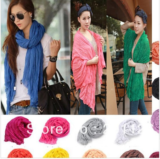 2 Brief candy color fashion long big Crinkle Voile soft Scraf wrap shawl stole scarves for women(China (Mainland))