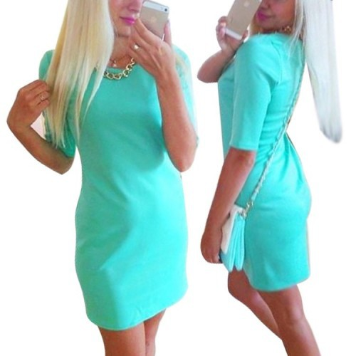 Sky Blue Pencil Dress Slim