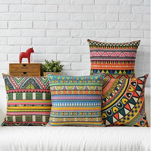 FD005 Southeast Asia ethnic customs abstract colorful geometric pattern cotton linen cushion covers home furniture fabric art(China (Mainland))