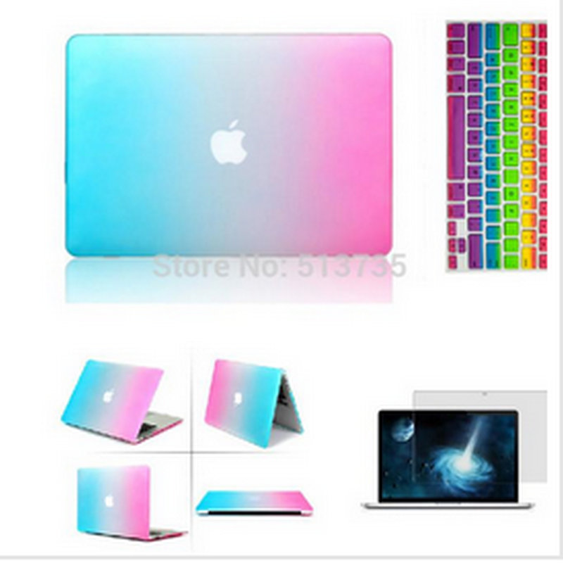 2016 Rainbow Matt Case cover+ silicone Protector keyboard Cover+ For Apple Mac Book air Pro 11 12 13 15 retina without logo(China (Mainland))